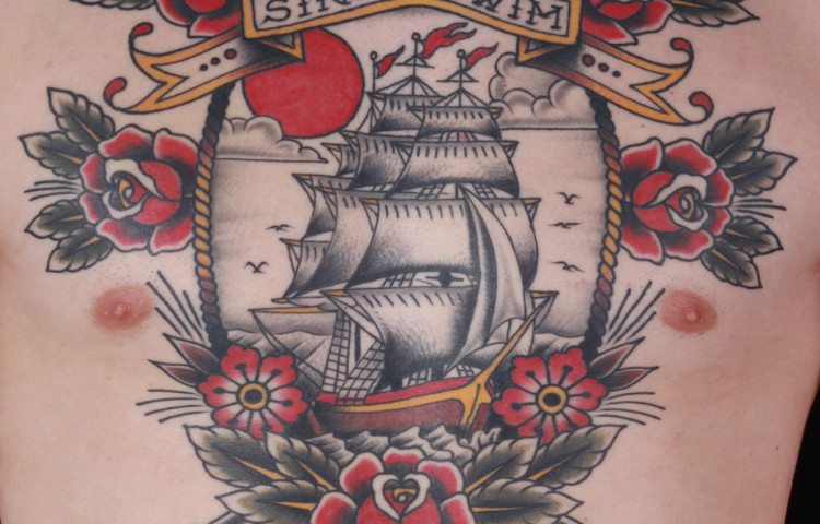 andy-canino-dedication-tattoo-traditional-ship-roses-cannon-flowers-chest