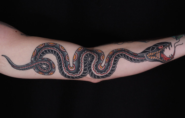 andy-canino-dedication-tattoo-traditional-snake-arm