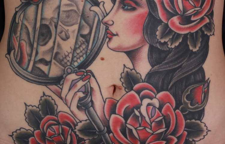 andy-canino-dedication-tattoo-traditional-girl-roses-mirror-skull-stomach