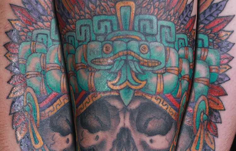 sam-yamini-dedication-tattoo-mayan-skull-headdress-arm