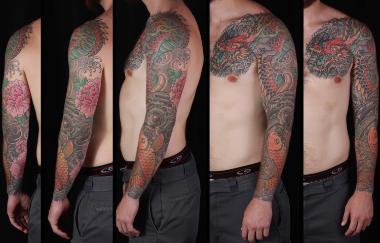 brian-thurow-dedication-tattoo-japanese-dragon-biomech-koi-water-waves-sleeve-arm-chest