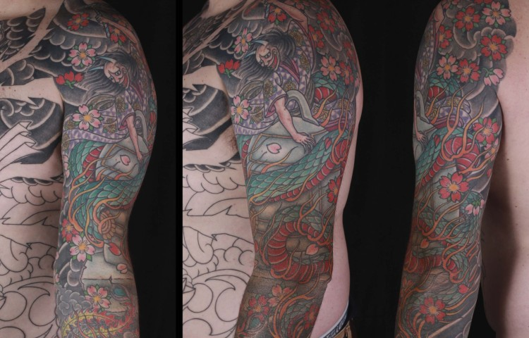 brian-thurow-dedication-tattoo-japanese-hannya-serpent-kiyohime-cherry-blossoms-sleeve-arm