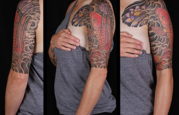 brian-thurow-dedication-tattoo-japanese-half-sleeve-arm-chest-koi-water-waves-lotus