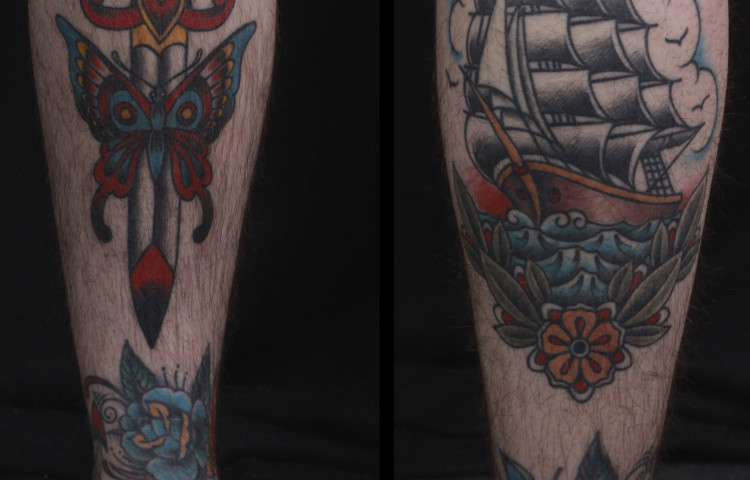 brian-thurow-dedication-tattoo-traditional-butterfly-dagger-ship-flowers-shin-calf
