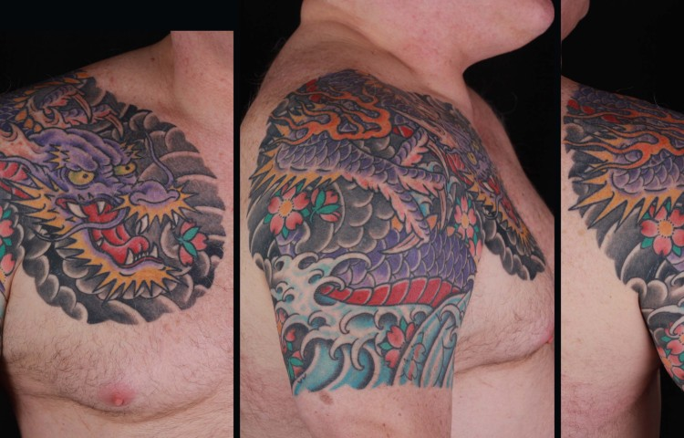 brian-thurow-dedication-tattoo-japanese-dragon-water-waves-cherry-blossoms-arm-chest