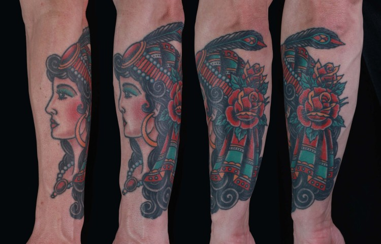 brian-thurow-dedication-tattoo-traditional-girl-gypsy-scarf-roses-forearm