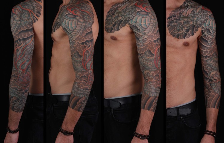 brian-thurow-dedication-tattoo-japanese-robotic-biomech-dragon-clouds-sleeve-arm