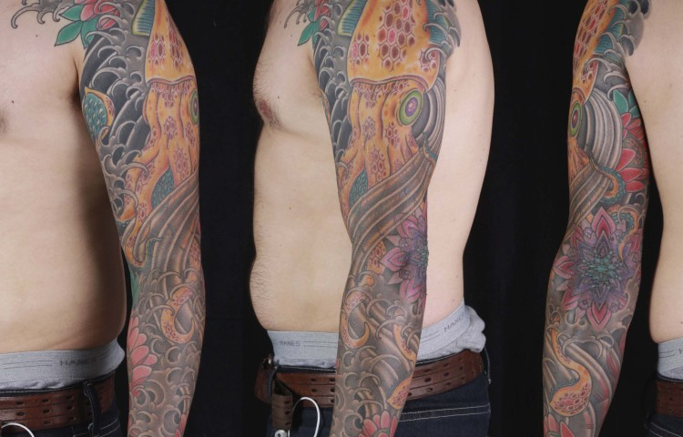 brian-thurow-dedication-tattoo-squid-lotus-mandala-sleeve-arm