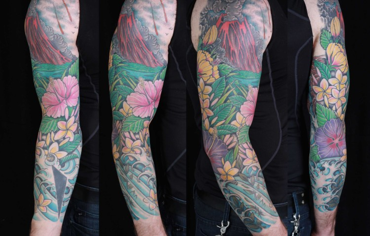 brian-thurow-dedication-tattoo-volcano-sleeve-flowers-water