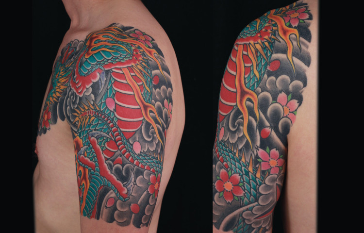 sam-yamini-dedication-tattoo-japanese-dragon-half-sleeve-cherry-blossoms-clouds-arm-chest