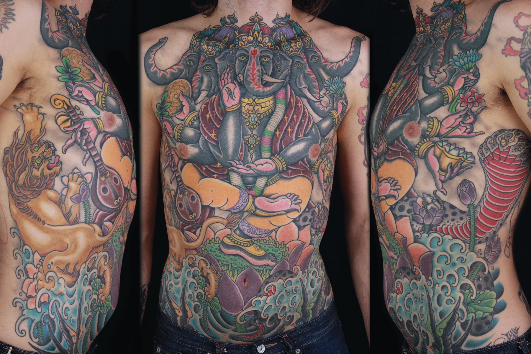sam-yamini-dedication-tattoo-ganesh-lion-lotus-water-waves-cobra-stomach-ribs