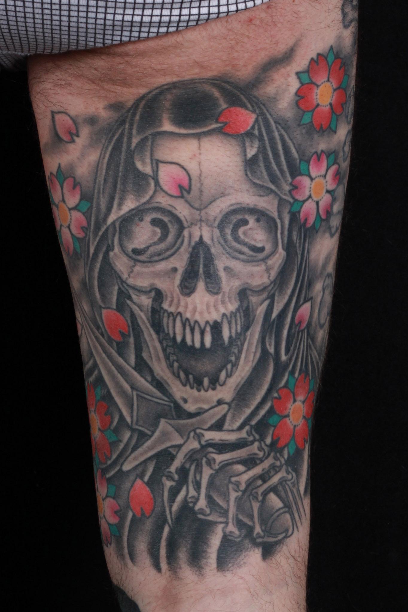 brian-thurow-dedication-tattoo-thigh-reaper-cherry-blossoms
