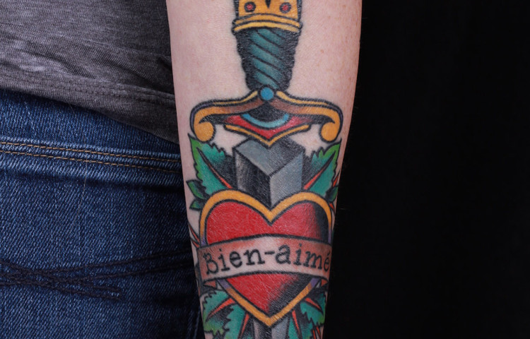 haley-mcmahon-dedication-tattoo-traditional-heart-dagger-text