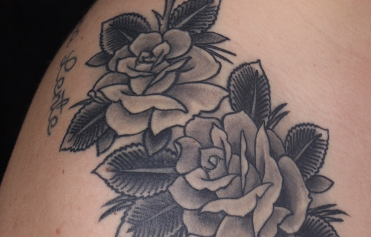 haley-mcmahon-dedication-tattoo-black-and-grey-roses-collar-shoulder