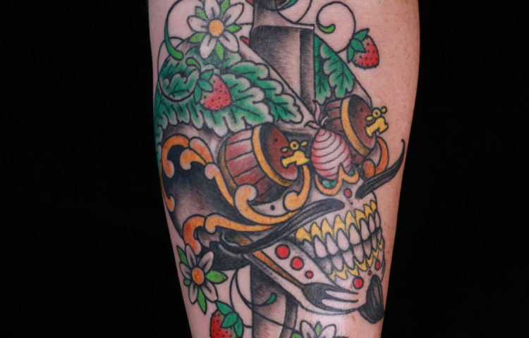 sam-yamini-dedication-tattoo-traditional-forearm-day-of-the-dead-skull-dagger-fruit-flowers