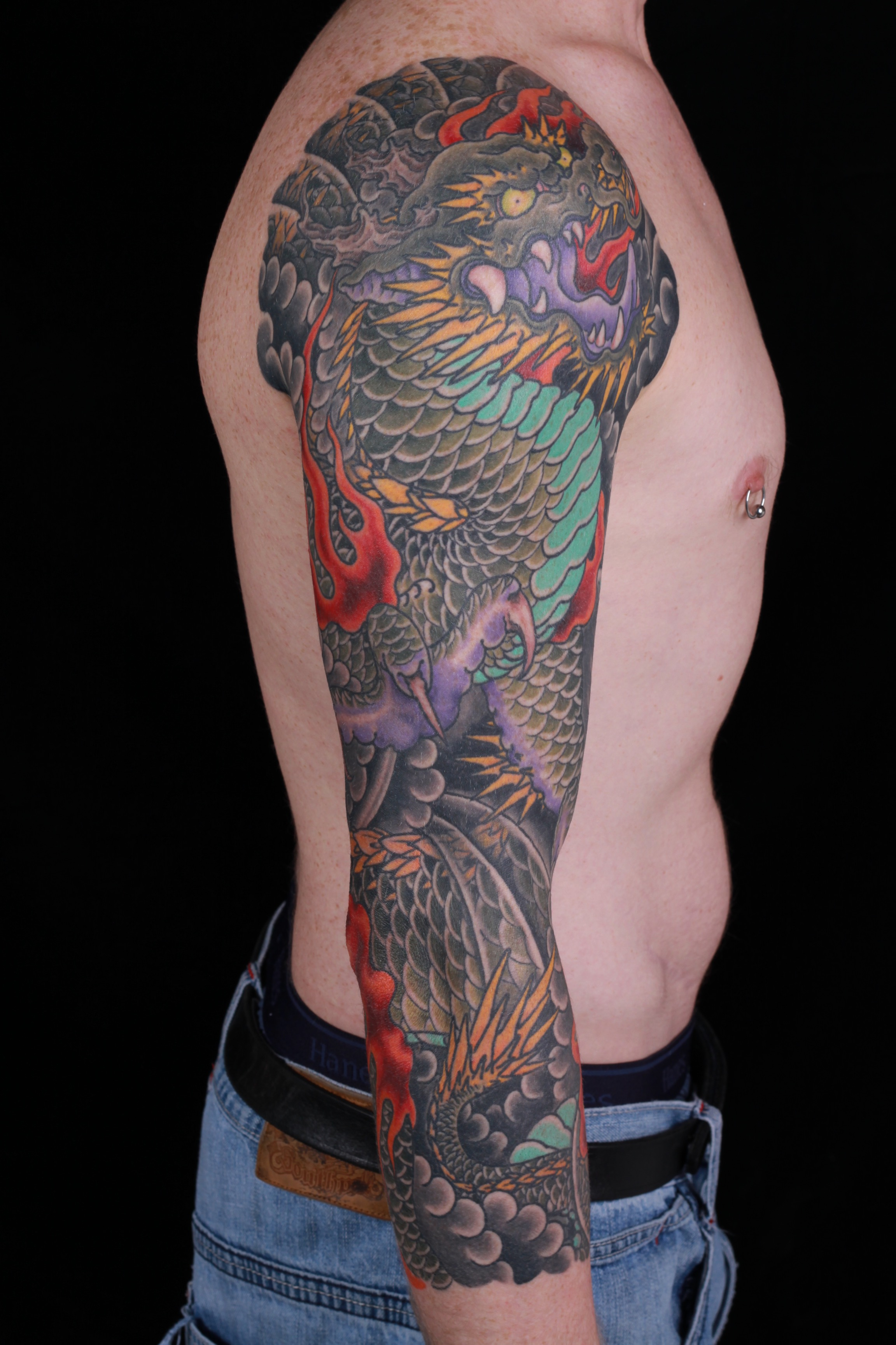 sam-yamini-dedication-tattoo-japanese-dragon-fire-clouds-sleeve-arm