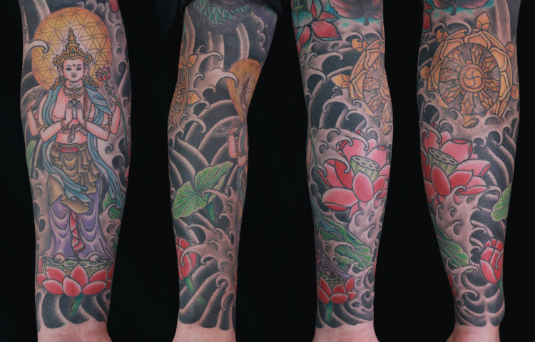 sam-yamini-dedication-tattoo-japanese-goddess-sleeve-lotus-water-waves-arm