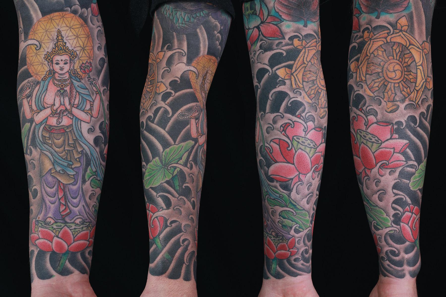sam-yamini-dedication-tattoo-japanese-goddess-sleeve-lotus-water-waves-arm