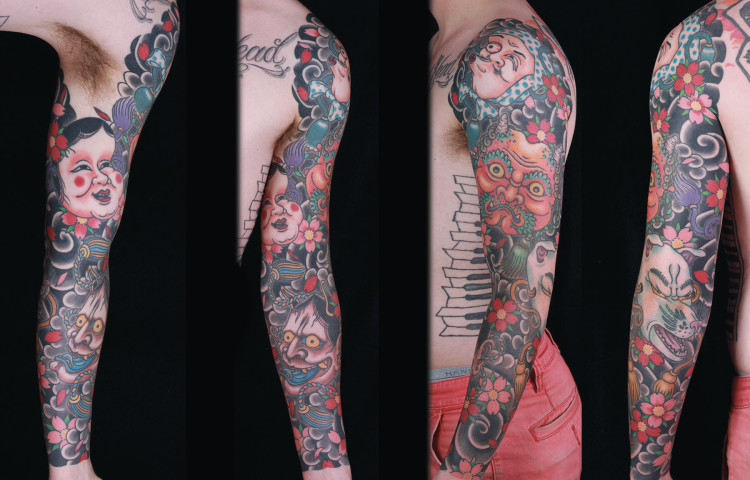 sam-yamini-dedication-tattoo-japanese-sleeve-masks-hyottoko-okame-oni-kitsune-hannya-cherry-blossoms-clouds-arm