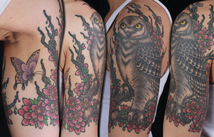 sam-yamini-dedication-tattoo-owl-half-sleeve-cherry-blossoms-arm