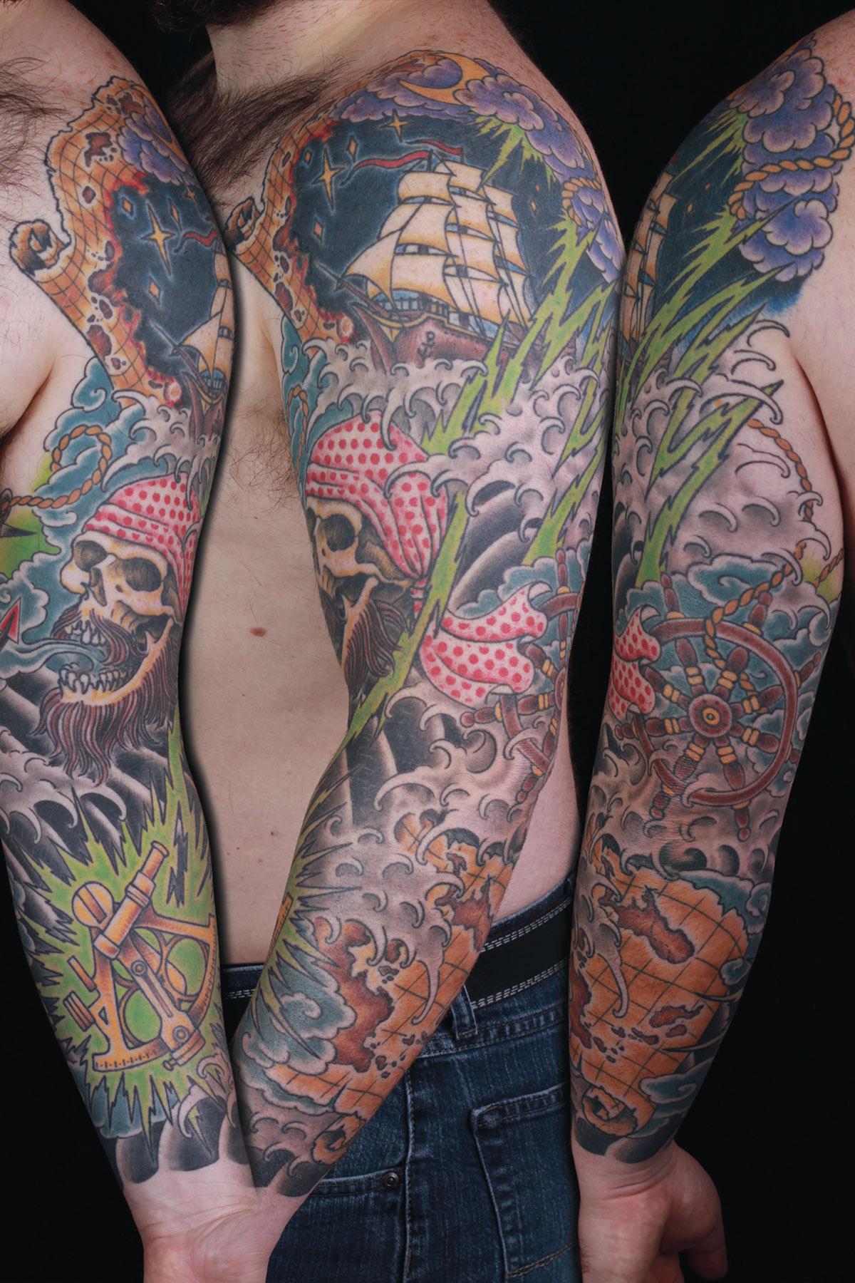 sam-yamini-dedication-tattoo-pirate-water-waves-ship-map-skull-compass-lightning-sleeve-arm