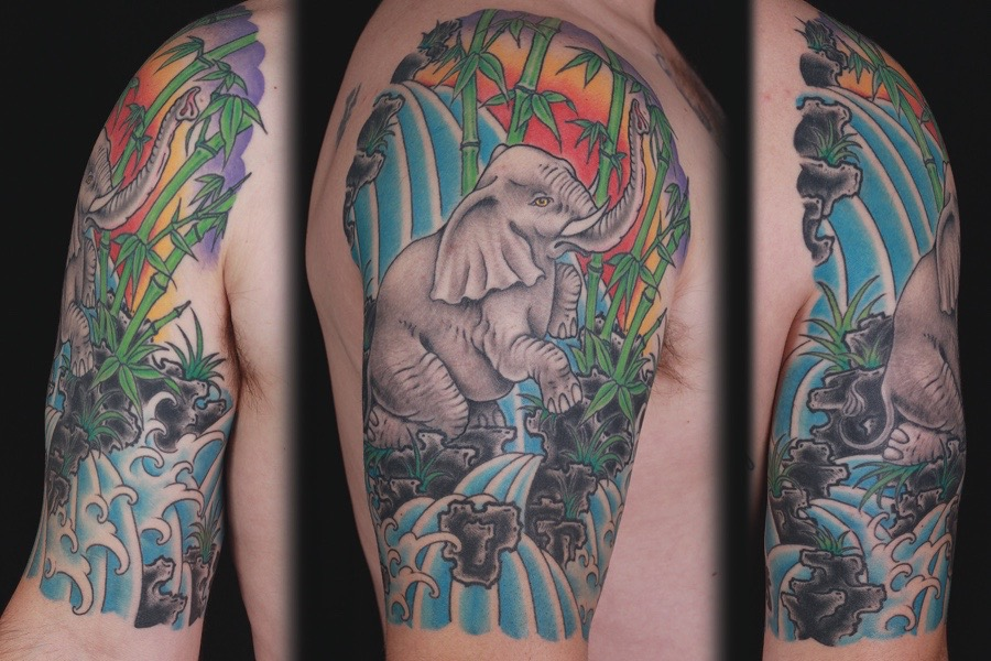 sam-yamini-dedication-tattoo-elephant-scene-bamboo-sleeve-arm