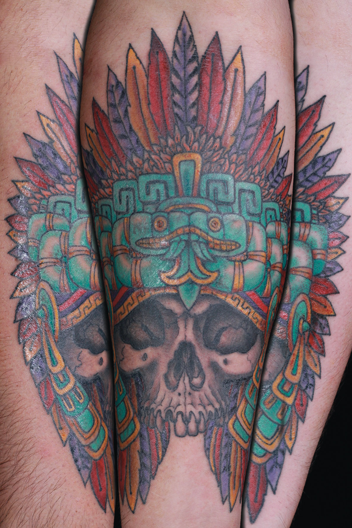 sam-yamini-dedication-tattoo-mayan-skull-headdress-arm