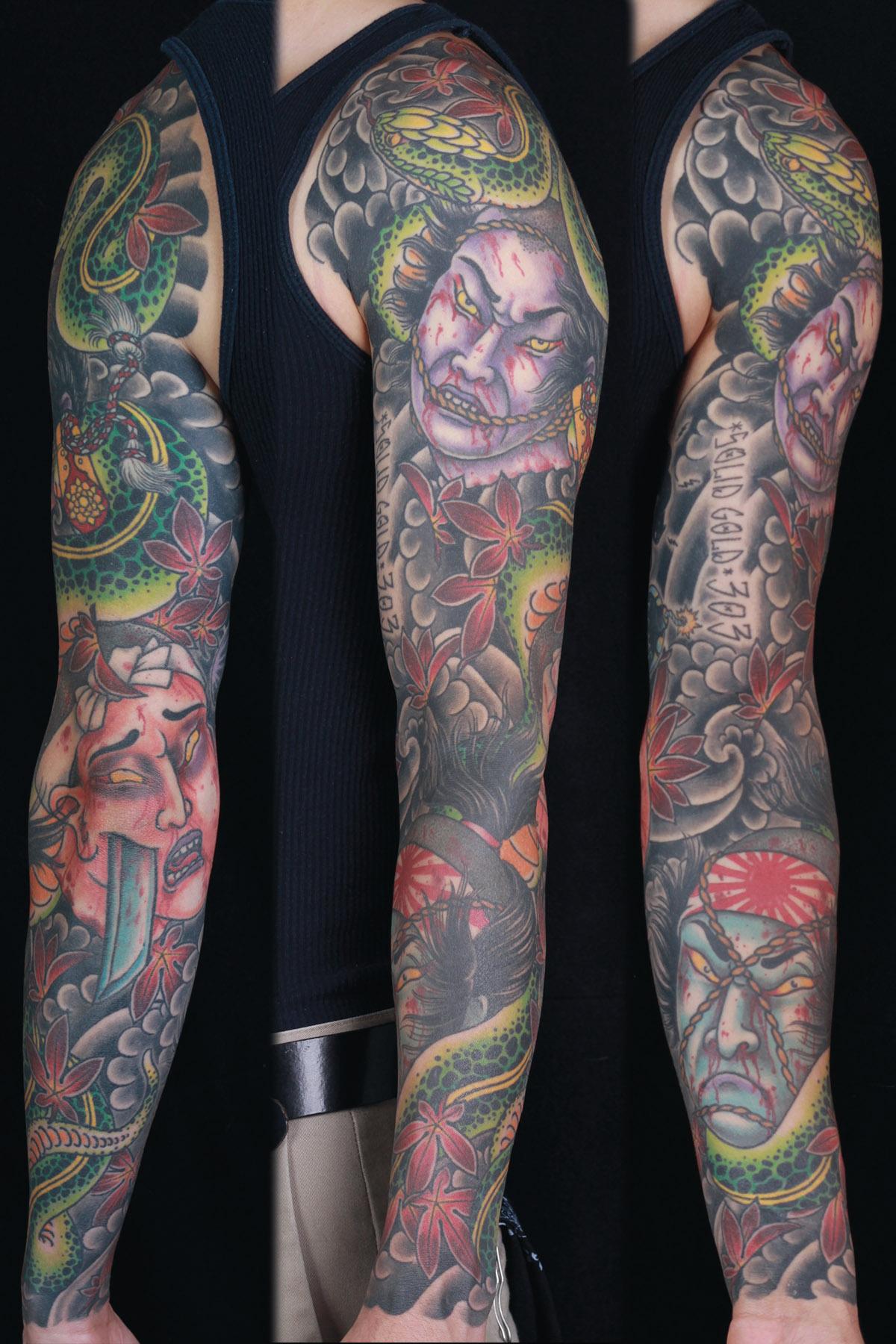 sam-yamini-dedication-tattoo-japanese-namakubi-snake-maple-leaves-sleeve-arm