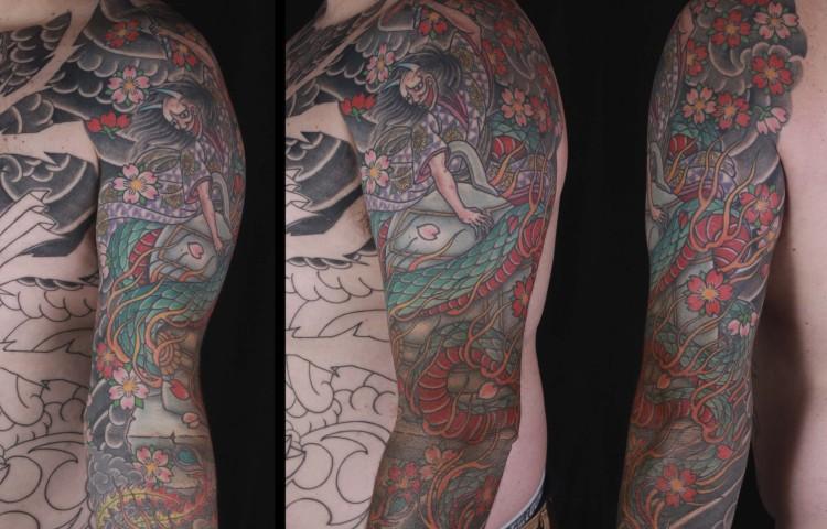 brian-thurow-dedication-tattoo-japanese-hannya-serpent-kiyohime-cherry-blossoms-sleeve-arm