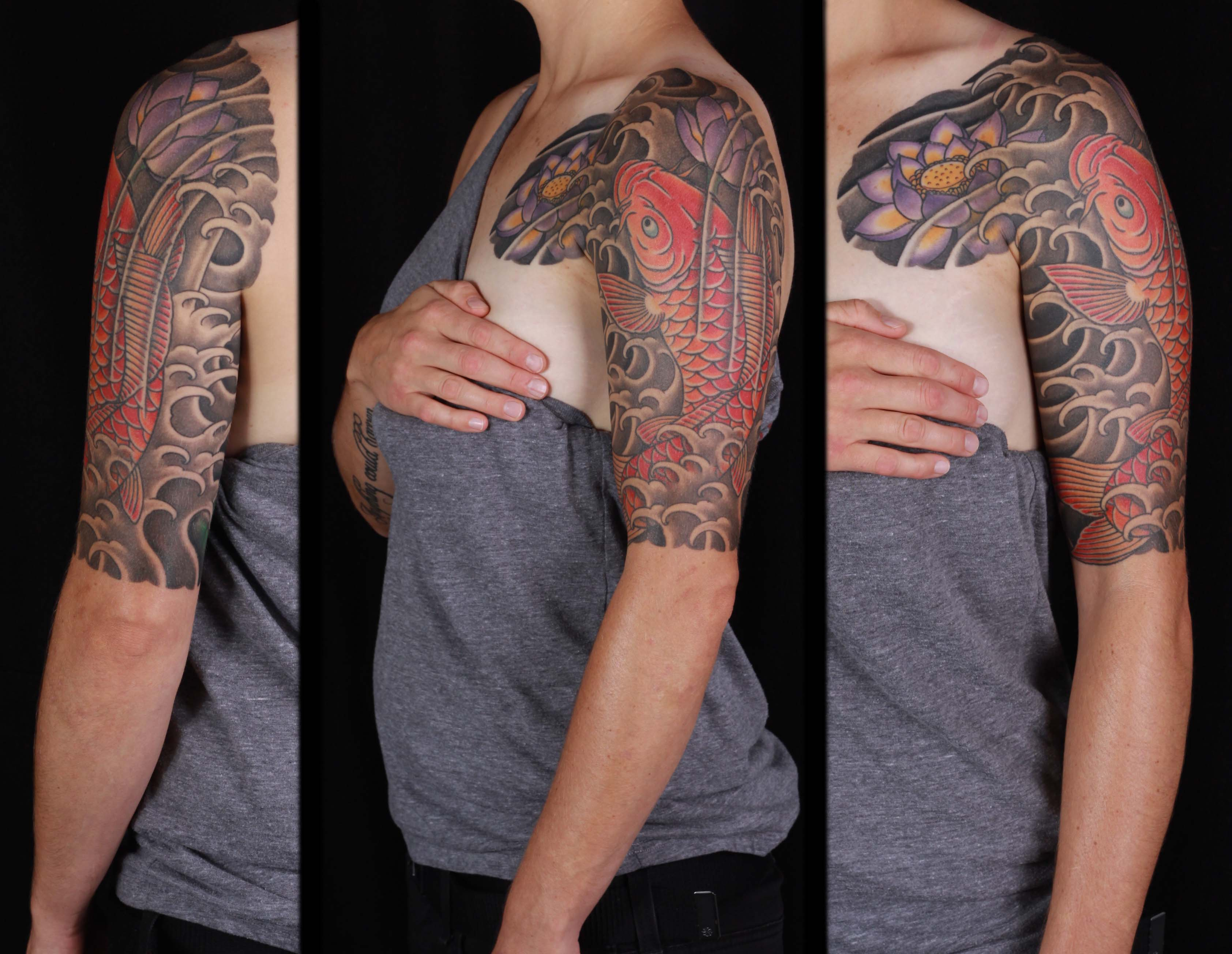 brian-thurow-dedication-tattoo-japanese-half-sleeve-arm-chest-koi-water-waves-lotus