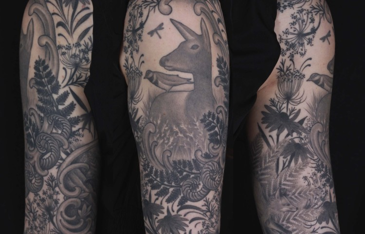 brian-thurow-dedication-tattoo-black-and-grey-deer-foliage-leaves-arm