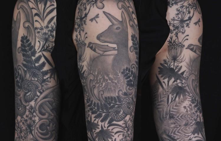 brian-thurow-dedication-tattoo-black-and-grey-deer-foliage-leaves-arm