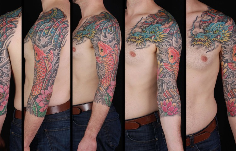 brian-thurow-dedication-tattoo-japanese-dragon-koi-lotus-waves-water-sleeve-arm-chest