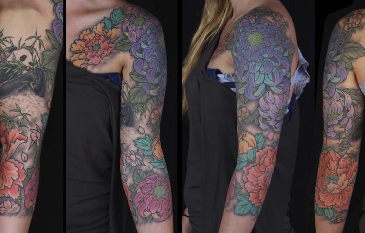 brian-thurow-dedication-tattoo-chrysanthemum-peonies-panda-sleeve-chest-arm