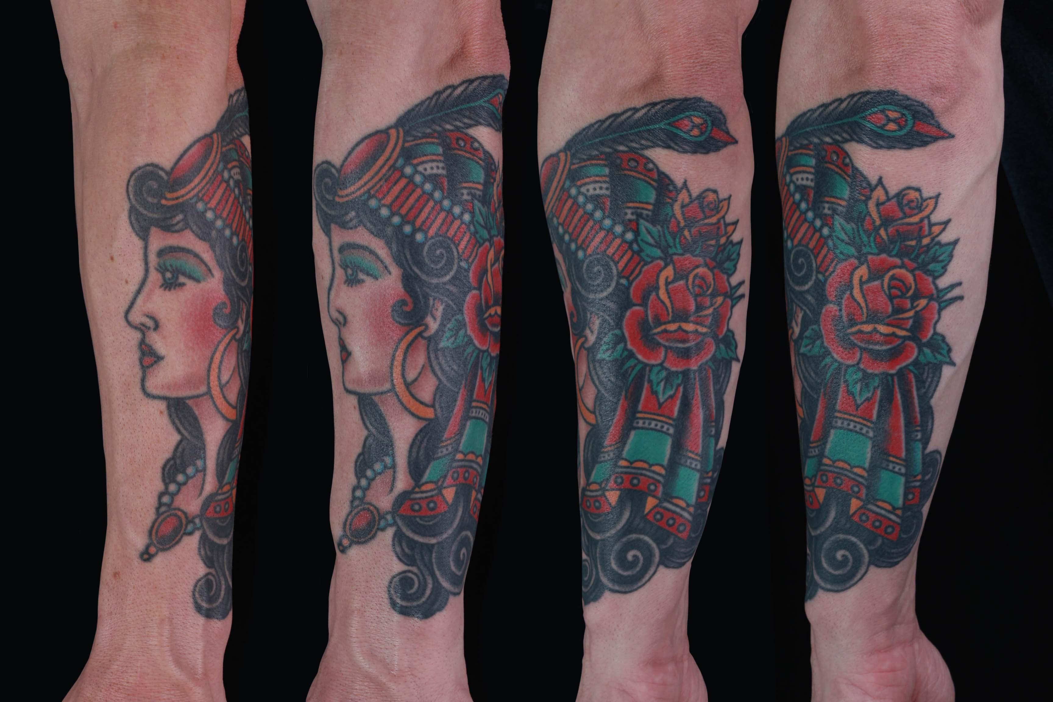 brian-thurow-dedication-tattoo-traditional-girl-gypsy-scarf-roses-forearm