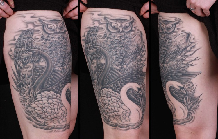 brian-thurow-dedication-tattoo-black-and-grey-swan-owl-thigh