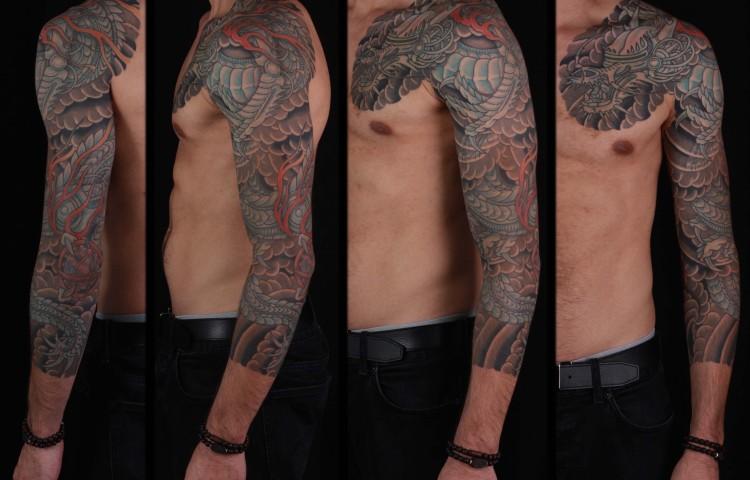 brian-thurow-dedication-tattoo-japanese-robotic-biomech-dragon-clouds-sleeve-arm