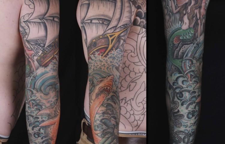 brian-thurow-dedication-tattoo-ship-shark-mermaid-waves-water-sleeve-arm