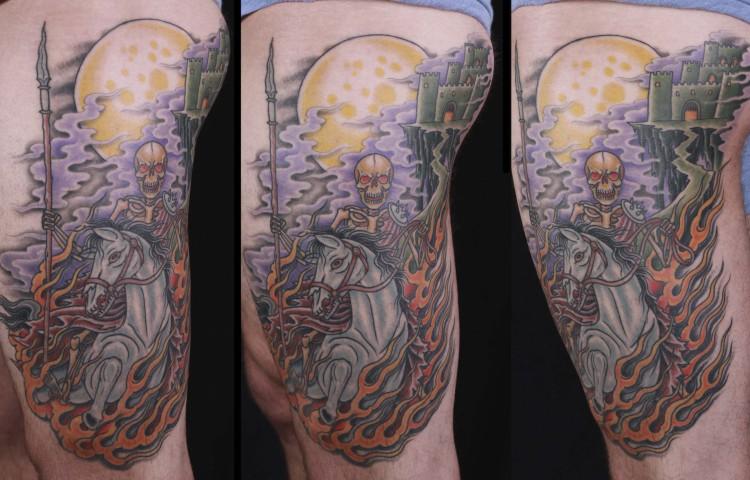 brian-thurow-dedication-tattoo-skeleton-horse-castle-flames-moon-thigh