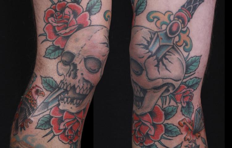 brian-thurow-dedication-tattoo-traditional-skull-dagger-roses-knee