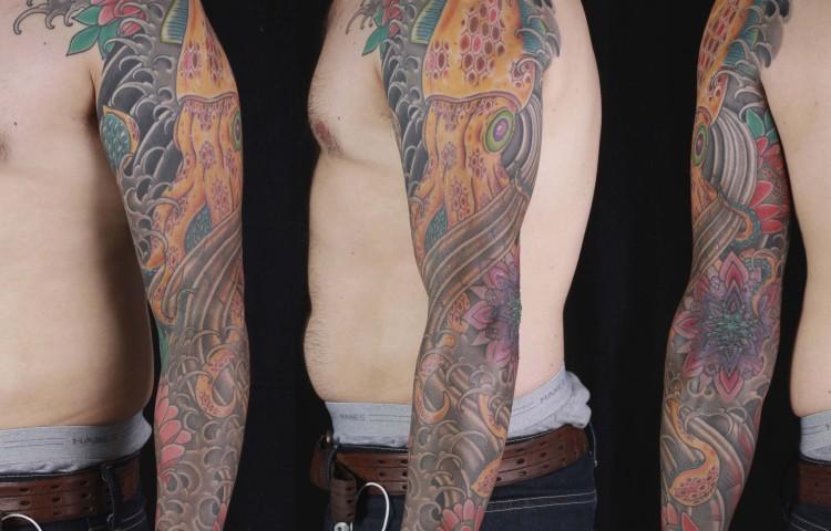 brian-thurow-dedication-tattoo-squid-lotus-mandala-sleeve-arm
