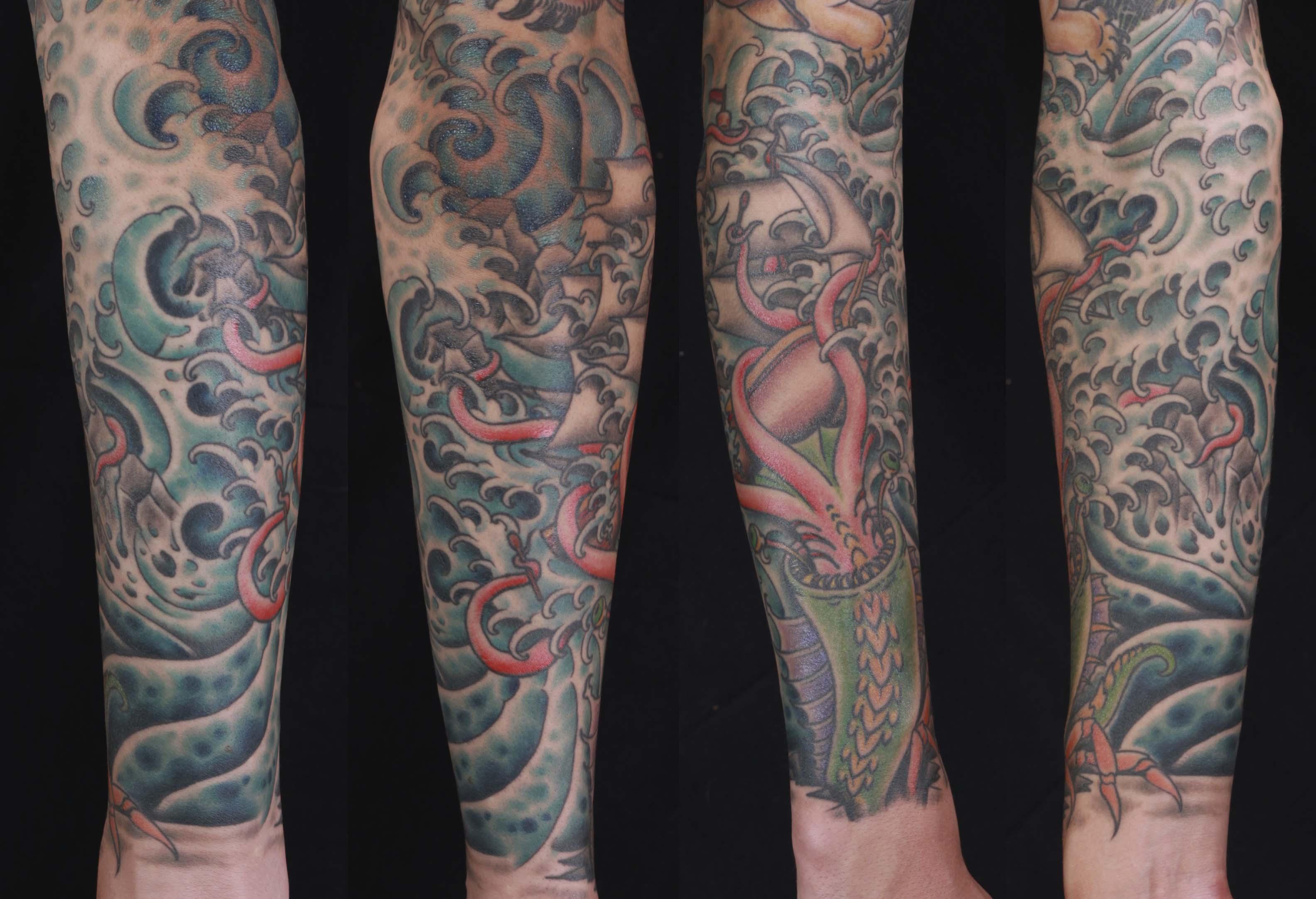 brian-thurow-dedication-tattoo-squid-ship-water-waves-forearm