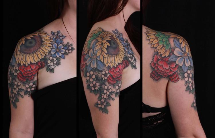 brian-thurow-dedication-tattoo-shoulder-columbine-sunflower-arm-shoulder-chest