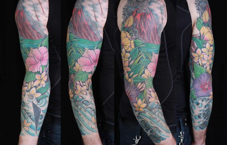 brian-thurow-dedication-tattoo-volcano-sleeve-flowers-water