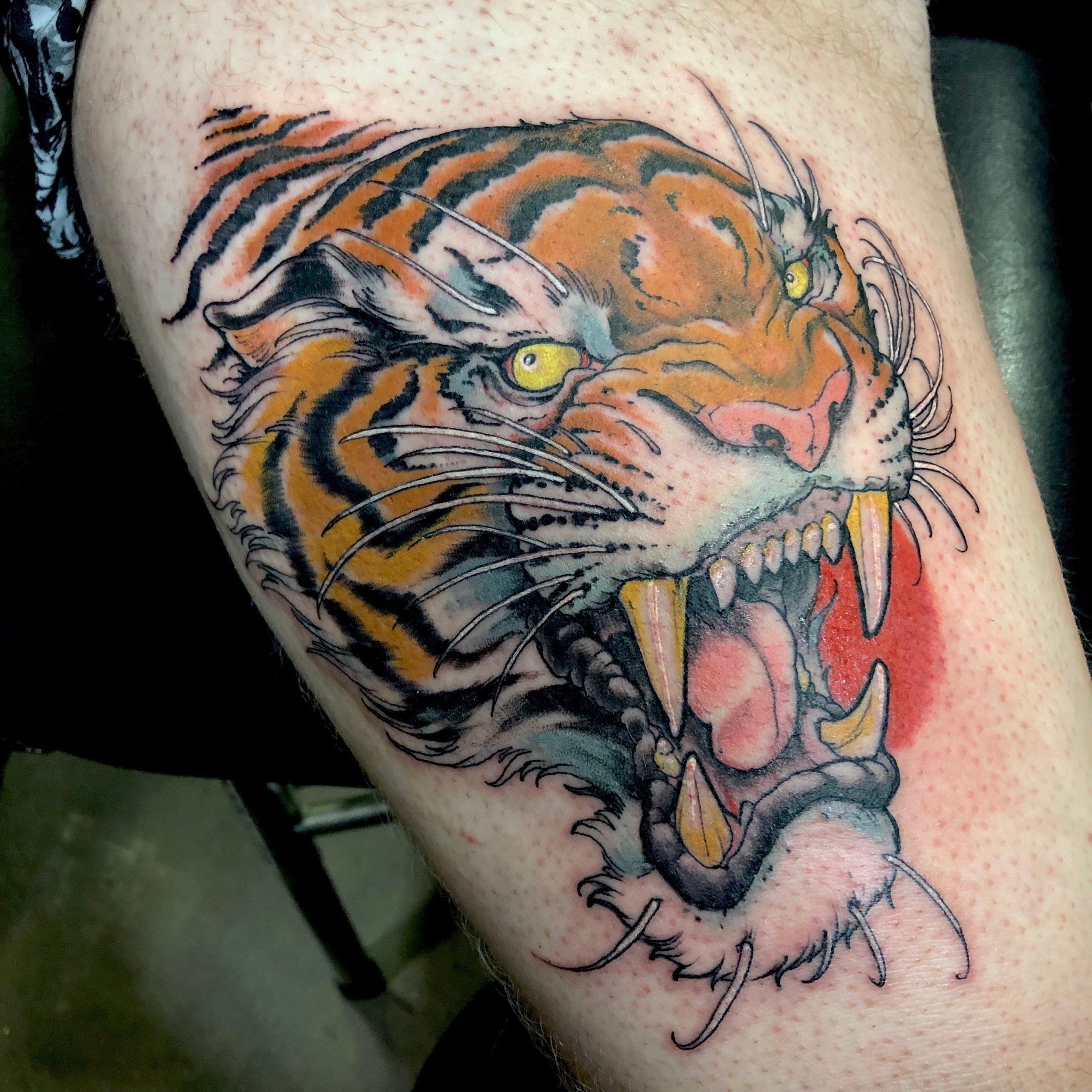 tiger head tattoo by ADAM HAYS