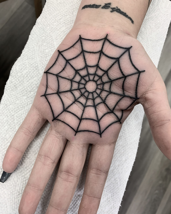 Spider Web on Palm Tattoo by Alec Rowe