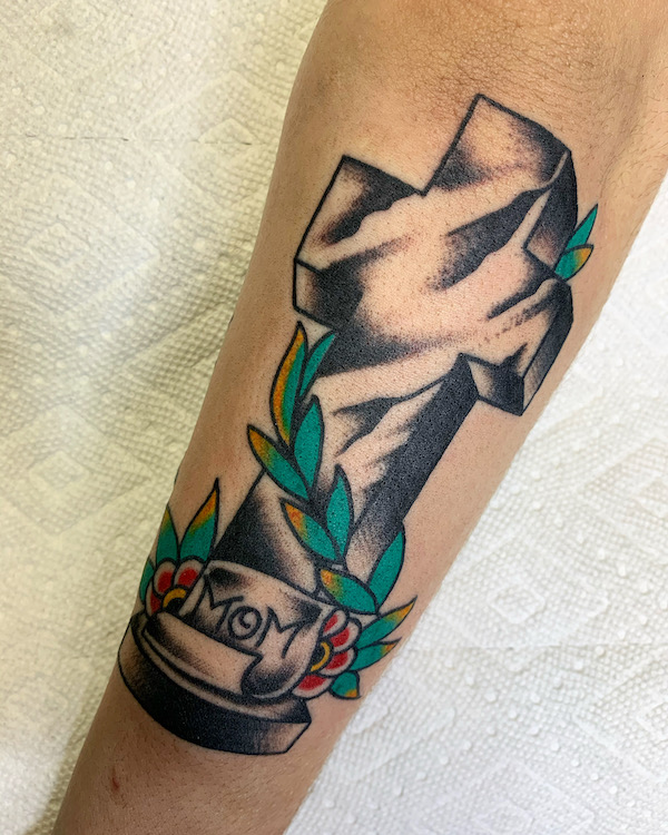 Traditional Cross with Flowers by Alec Rowe
