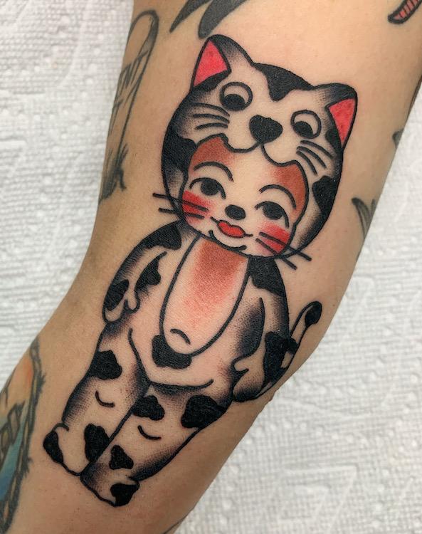 Traditional Kewpie in Cat SUit Tattoo By Alec Rowe